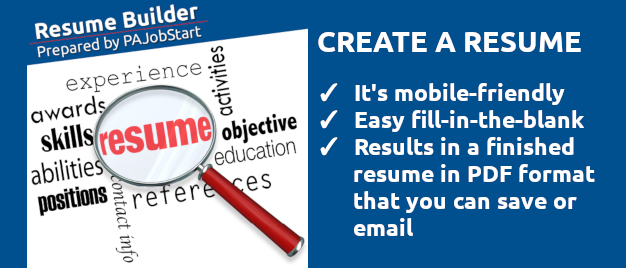 Use this mobile-friendly tool to build your resume! This link to an exterior site opens in a new window.